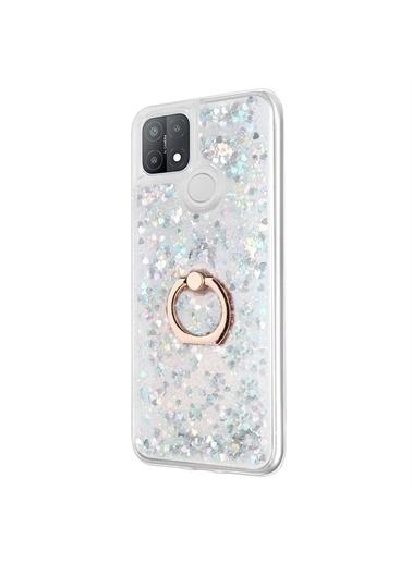 Microsonic Oppo A15S Kılıf Glitter Liquid Holder Gümüş Gümüş